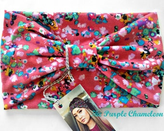 Salmon Pink Floral Turban Headwrap WRAPsody  Knit Headwrap in Pink Turquoise Yellow Mint Green Black  Yoga Headband Dred Wrap Running