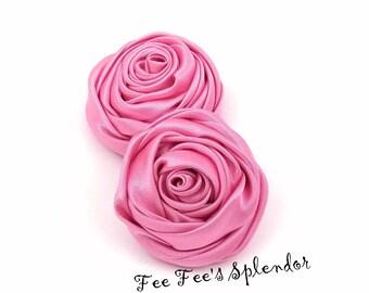 """Satin Rose - 2"""" Bubble Gum Pink rolled rosette - DIY flower - Pink Twisted rose- Rosebud"""