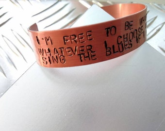 Oasis, Whatever, Handstamped Bracelet, Liam Gallagher merchandising, Noel Gallagher jewelery, free to do whatever I want, mad for it