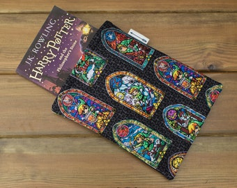 Handmade with Nintendo Legend of Zelda Link Stained Glass window fabric book sleeve keeper paperback cover book lover gift