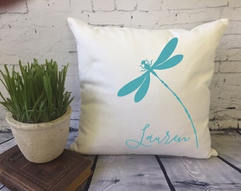 dragonfly throw pillow, personalized decorative throw pillow, baby shower gift, kids room