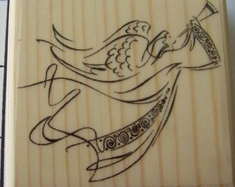 Angel Blowing Trumpet New Mounted Rubber Stamp