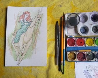 Erschreckt - Original Kunst-Aquarell-Skizze des Comic-Illustration