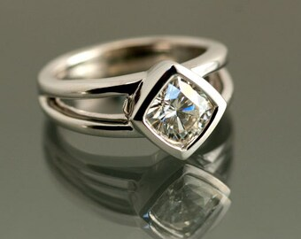 Moissanite Engagement Ring, White Gold, Cushion Cut 6.5mm, Moissanite Wedding Ring