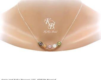 Personalized Birthstone Necklace Mom Necklace Family Necklace Birthstone Jewelry Mom Gift Mothers Jewelry Swarovski Pearl Necklace