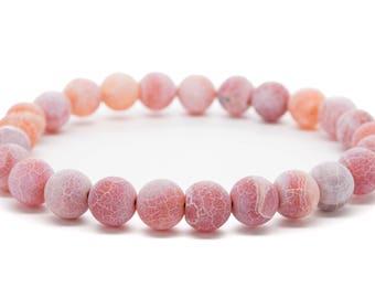 Pink Agate Beaded Mens Stretch Bracelet