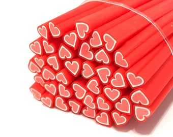 X 10 CANES FIMO heart Red 5 mm ❤ ❤