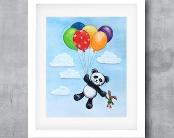Printable Wall Art, Pablo Panda Balloon Adventure, Modern Whimsical Poster Print, Digital Download, 8x10, 11x14, 16x20