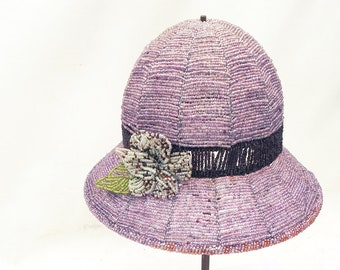 Vintage Beaded Hat W/Flower Lamp Shade Lavender Purple Beach Cottage Shabby Chic French Country