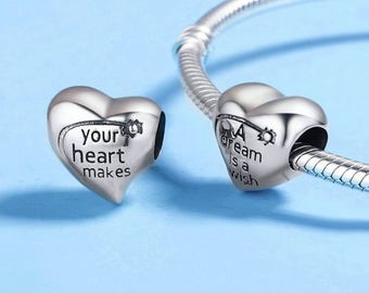 A Dream is a Wish Your Heart Makes Bead Charms 100% 925 Sterling Silver Fit Pandora European bracelets Pandora beads Pandora charms necklace