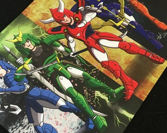 Ronin Warriors, Samurai Poster, 11x17 inches, Samurai Armor, Anime, Warriors, Sakura Blossoms
