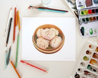 Steamed Dumplings Illustration // 8x10 Food Art Print