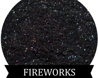 FIREWORKS Black eyeshadow with multi colored Shimmer