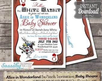 Alice in Wonderland Baby Shower Invitation - INSTANT DOWNLOAD - Editable & Printable Tea Party Invite by Sassaby Parties