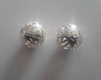 set of 2 silver round beads filigree 10mm
