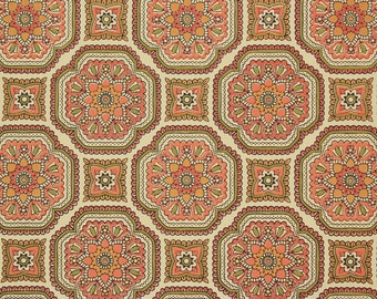 1960s Retro Vintage Wallpaper Orange and Green Geometric by the Yard