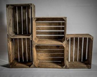 Beautiful Wooden Crates Storage Box Fruit Crates Box Shabby Chic x 1