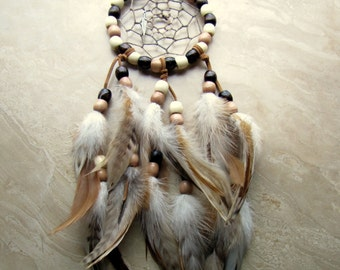 Beaded Dream Catcher - Natural Brown and Ivory Feather Dreamcatcher