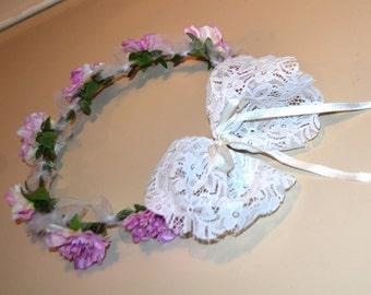 Boho Lilac purple flower girl crown with tulle, flower headband, wedding crown, head piece, head wreath, hair accessories, white wreath
