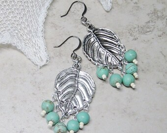 Silver Leaf Chandelier Earrings, Turquoise Bead Earrings, Silver Chandelier Earring, Southwestern, Boho, Beach, Leaf Chandeliers