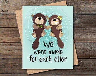 cute valentine card otter instant download funny anniversary love card for him her significant otter printable digital file print download