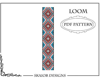 Loom Beading Pattern PDF Cuff Bracelet Tribal Geometric Seed Beads Native American Aztec Ethnic Triangle Red Blue Black Instant Download