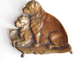 Vintage Antique Cast Bronze Bulldog Figural Trinket Dish - Victorian Change Tray - Pair of Pit Bulls - 1800s Dresser Tray - Gorgeous Patina