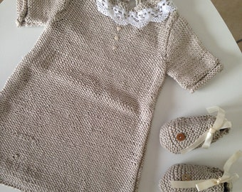 Cotton dress and matching booties