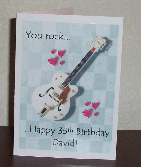 Guitar Birthday Card Happy Birthday ... You Rock Add Name
