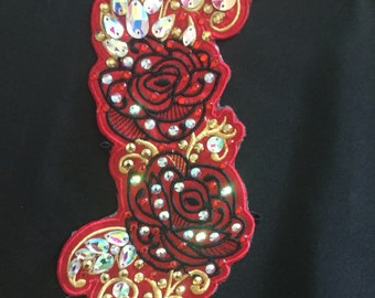 Irish Dance Embroidered rose spray side Tiara with teardrop Diamante rhinestones and rivoli stones