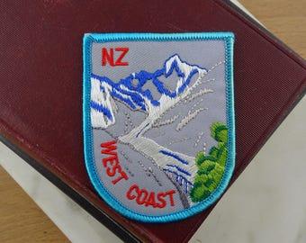 Vintage New Zealand Patch, West Coast Snowy Mountains, Iron on Patch, Souvenir Woven Patch, Embroidered Badge, Retro NZ Souvenir