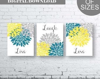Bathroom Print Art - Live Laugh Love - Turquoise Grey Yellow Art- Turquoise Grey Yellow Flower Bathroom. Yellow and Turquoise Floral Art