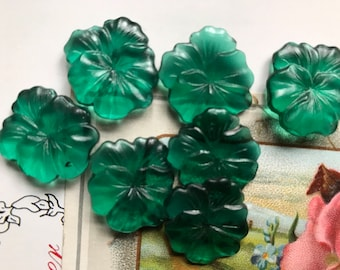 2 Vintage Pansy Flowers,jewelry supplies,pansy cabochons,emerald Cabochons, Emerald Pansies, Pressed Glass flowers,Czech, NOS  (978C)