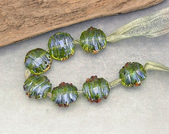Lampwork Glass Beads Made to Order - Lime Green Silver Glass Handmade Art Beads - Artisan Components by Emma Ralph SRA UK Art Beads