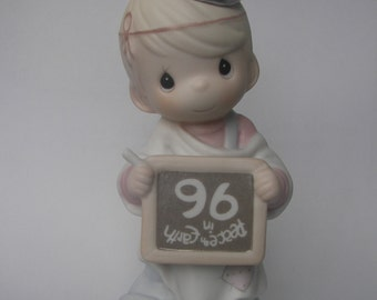 "Precious Moments ""Peace On Earth...Anyway"" Porcelain Figurine - Enesco - Vintage Collectible - Angel - 1996 - Chalkboard - 183342"