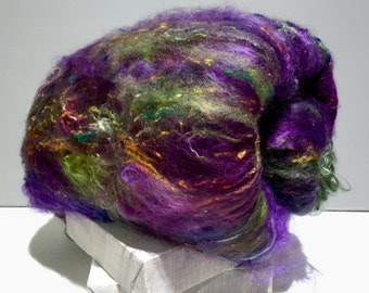 "fiber art batt, felting spinning batt, ""Wildethyme SURPRISE"" batts, your choice 1-3 colors 4 oz, felting wool, spinning fiber, surprise batt"