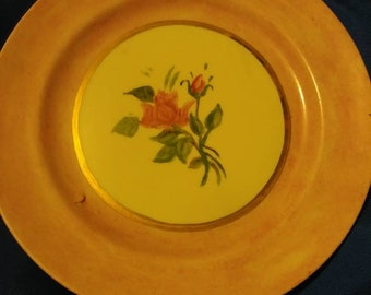 Vintage 1930s Lustreware Hand Painted Universal Cambridge 4in Plate