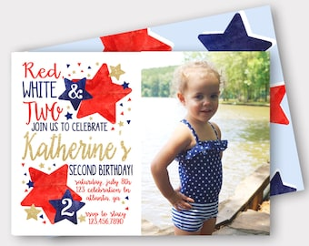 fourth of july birthday invitation stars stripes and fun