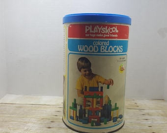 Playskool colored Wooden Blocks, 1976, vintage toy