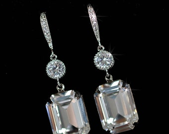 Handmade Swarovski Clear Emerald Cut Crystal & CZ Dangle Bridal Earrings, Bridal, Wedding (Sparkle-2325)