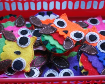 Colourful Felt Owl Brooch