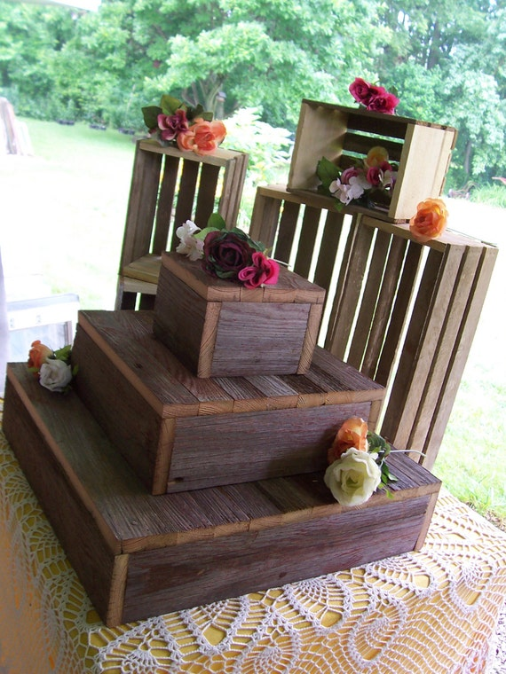 rustic wooden wedding cake stand cupcake stand crates bundle rustic wedding decorations 19593
