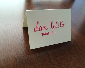 Custom Wedding Calligraphy Place Cards