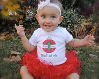 Baby's First Christmas Bodysuit Personalized with child's name Tutu add on available