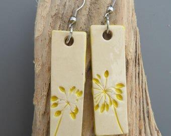 Earrings ceramic #2 yellow flower print