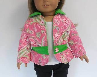 Quilted Coat fits American Girl doll; 18 inch doll coat; Quilted doll coat; doll jacket