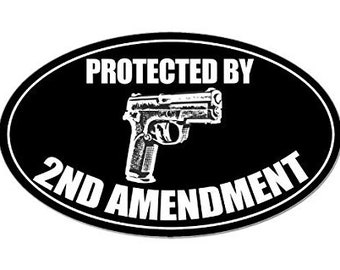 Black Oval Protected by 2nd Amendment Gun Sticker