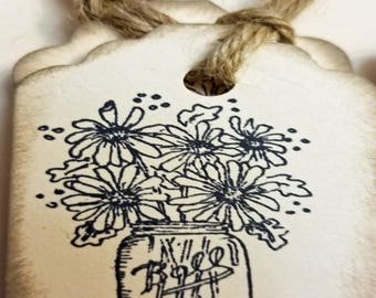 10 Price Tags, Gift Tags, Labels etc Ball Brand Jar with Flowers Antiqued Edges with Vintage Twine  -- code 7