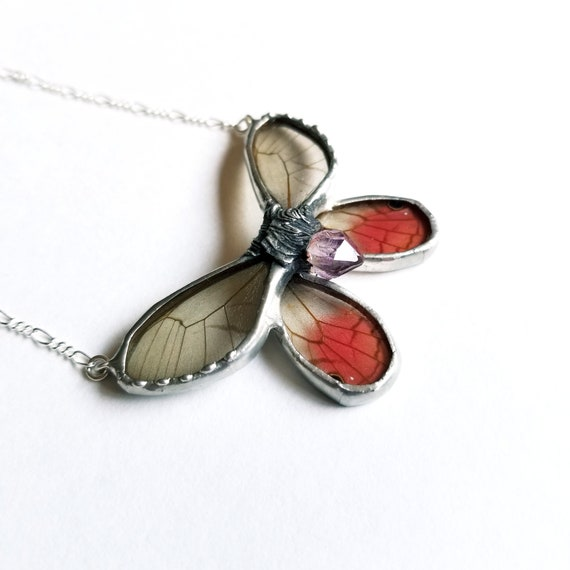 Butterfly Jewelry / Butterfly Necklace / Pink GlassWing Necklace