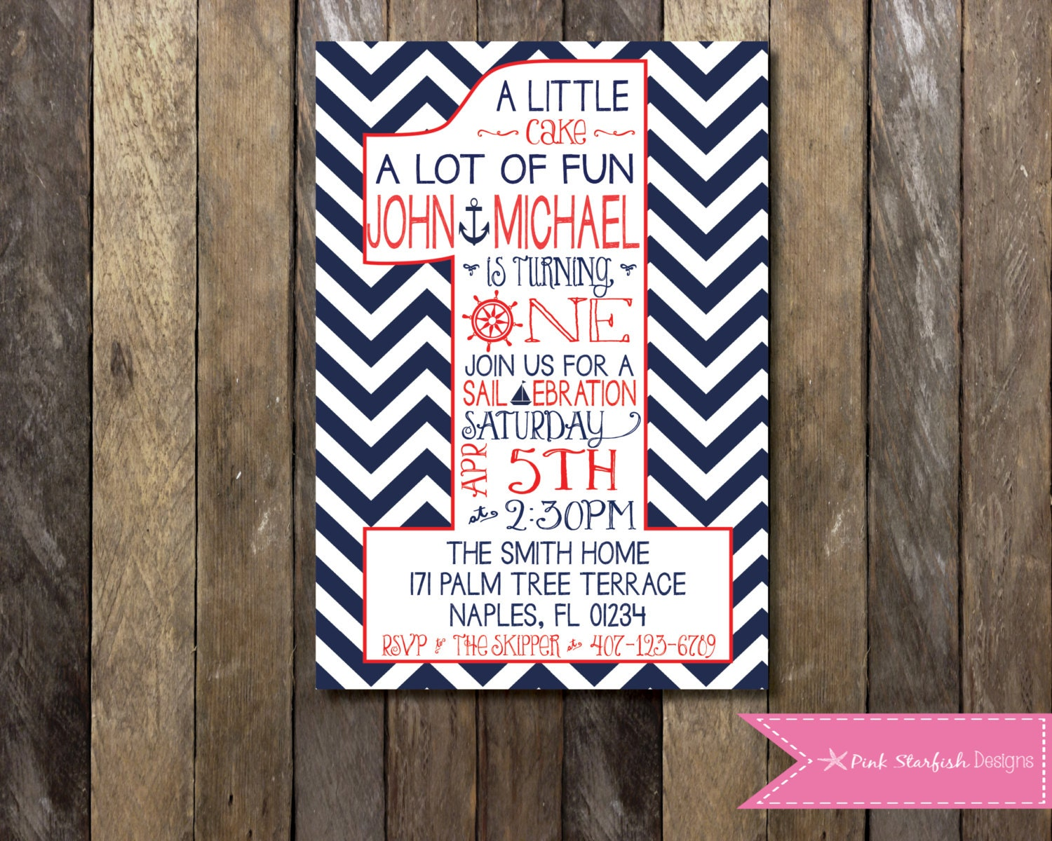 Nautical First Birthday Invitation 1st Birthday Invitation